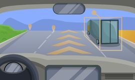 Driverless car highway moving concept background, cartoon style royalty free illustration