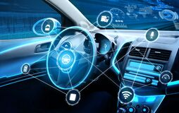 Driverless car interior with futuristic dashboard for autonomous control system