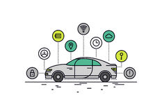Driverless car line style illustration. Thin line flat design of driverless car technology features, autonomous vehicle system capability, internet of things stock illustration