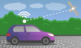 Driverless car satellite concept background, cartoon style stock illustration