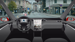 Driverless electric car. Autonomous self driving mode. Head-up display Stock Images