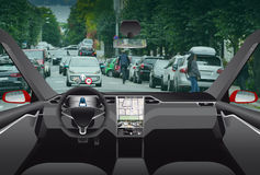 Driverless electric car. Autonomous self driving mode. Head-up display Royalty Free Stock Images