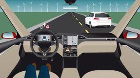 Driverless electric car. Autonomous self driving mode. Head-up display. Vector illustration Stock Photos
