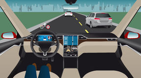 Driverless electric car. Autonomous self driving mode. Head-up display. Vector illustration Stock Images