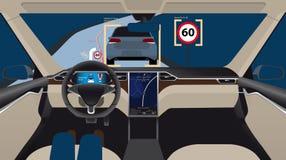 Driverless electric car. Autonomous self driving mode. Head-up display. Vector illustration Royalty Free Stock Photos