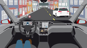 Driverless electric car. Driverless electric car on a city street. Autonomous self driving mode. Head-up display. Vector illustration Stock Image