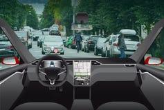 Driverless elektryczny samochód Fotografia Stock