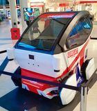 Driverless pod car in Milton Keynes, UK. Driverless pod car in Milton Keynes United kingdom mksmart EV experience future catapult tech mahindra  great britain Stock Photography