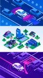 Driverless samochodowy sztandaru set, isometric styl royalty ilustracja