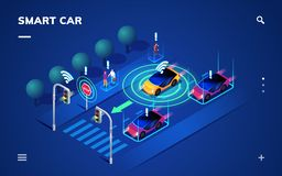 Driverless or self driving car at road, automobile. Driverless or self driving car at road. Futuristic autonomous vehicle remote sensing system. Isometric view stock illustration