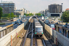 Driverless train on pneumatic wheels in Paris Metro royalty free stock photography