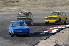 Drivers competing. Rallycross at the racetrack in Kalix Sweden Royalty Free Stock Photos