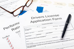 Drivers license application form Royalty Free Stock Image