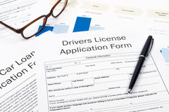 Drivers license application form Royalty Free Stock Images