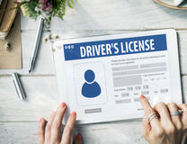 Drivers License Registration Application Webpage Concept stock photo