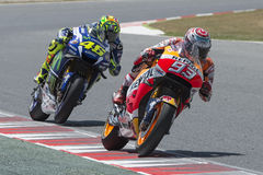 Drivers Marc Marquez and Valentino Rossi Royalty Free Stock Images
