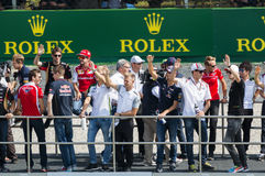 Drivers parade at Formula one, Monza Grand Prix 2014. Royalty Free Stock Images