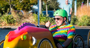 Drivers pedal car for a traditional race Royalty Free Stock Image
