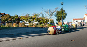 Drivers pedal car for a traditional race Royalty Free Stock Photos