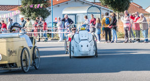 Drivers pedal car for a traditional race Royalty Free Stock Photo