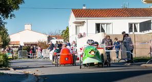 Drivers pedal car for a traditional race Stock Photo