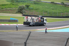 Drivers on platform. Drivers of Grand Prix Brazil 2008 on platform during Welcome Lap at Interlagos Circuit royalty free stock photos