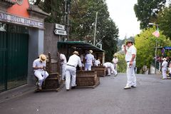 Drivers prepare for the Toboggan run in Funchal royalty free stock photography