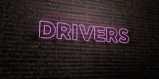 DRIVERS -Realistic Neon Sign on Brick Wall background - 3D rendered royalty free stock image Stock Photography