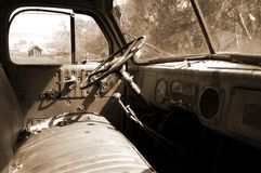 Drivers seat. Of an old rusty car Stock Images