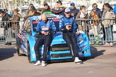 Drivers are sitting on the hood of the Ford Fiesta RS WRC2 - Mon Stock Photo