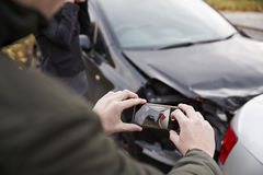 Drivers Taking Photo Of Car Accident On Mobile Phones Royalty Free Stock Photo