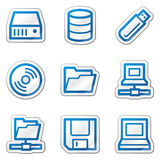 Drives and storage web icons, blue contour sticker Royalty Free Stock Photo