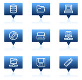 Drives and storage web icons, blue speech bubbles Stock Images