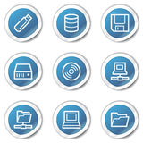 Drives and storage web icons, blue sticker series Royalty Free Stock Images