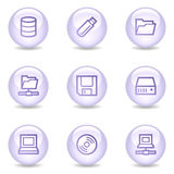 Drives and storage web icons, glossy pearl series Stock Photography