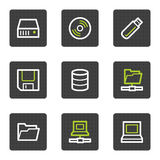 Drives and storage web icons, grey square buttons Royalty Free Stock Photos