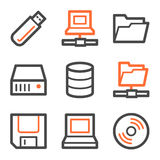 Drives and storage web icons, orange-gray contour Stock Image