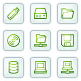 Drives and storage web icons, white square buttons Royalty Free Stock Image
