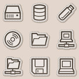 Drives and storages web icons, brown sticker Royalty Free Stock Images
