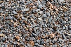 Driveway αμμοχάλικο που αναμιγνύεται με τα φύλλα και τους κλαδίσκους στοκ φωτογραφίες με δικαίωμα ελεύθερης χρήσης