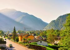 Driveway in Aurigeno Ticino Switzerland in CH. Aurigeno, Switzerland - August 24, 2016: Driveway in Aurigeno of Ticino, Switzerland in summer stock photography
