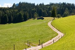Driveway crossing mountain pasture meadows Royalty Free Stock Photography