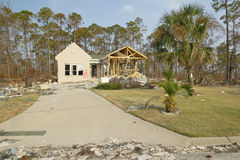 Driveway and debris in front of house heavily hit by Hurricane Ivan in Pensacola Florida Stock Photography
