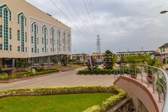 Driveway and frontage of the new Auditorium of Deeper Life Bible Church Gbagada Lagos Nigeria. Garden and driveway in the front of the new Auditorium of Deeper stock photo