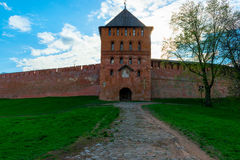 Driveway leading to the tower of  Novgorod Kremlin Stock Photos