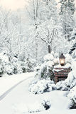 Driveway light on snowy morning Stock Image