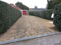 Driveway. Paved drive way patio Royalty Free Stock Images