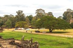 Driveway to Royal Palace in Angkor Thom, Cambodia. Royalty Free Stock Photo