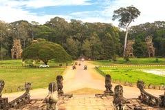 Driveway to Royal Palace in Angkor Thom, Cambodia. Royalty Free Stock Photography
