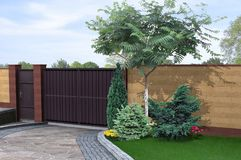 Driveway and walled garden design ideas, 3d render Stock Photo